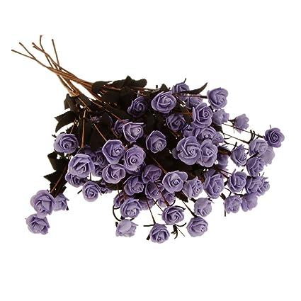 Imported 6x Artificial Flower Foam Rose Bouquet Home Wedding Party Decor Light Purple Artificial Flowers at amazon