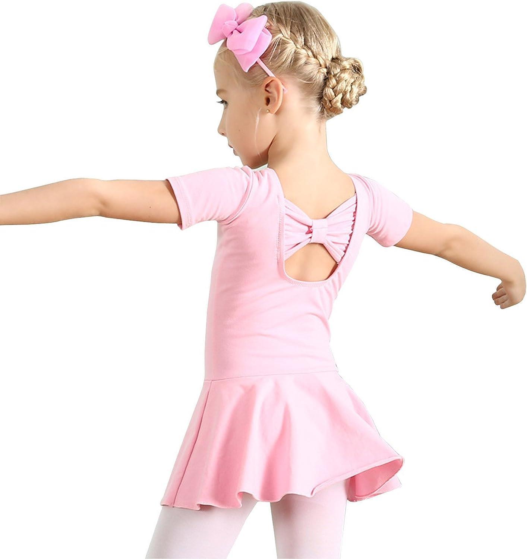 DIPUG Long Sleeve Ballet Leotards for Girls with Skirt Back Bow-knot Dance Leotard for Toddler