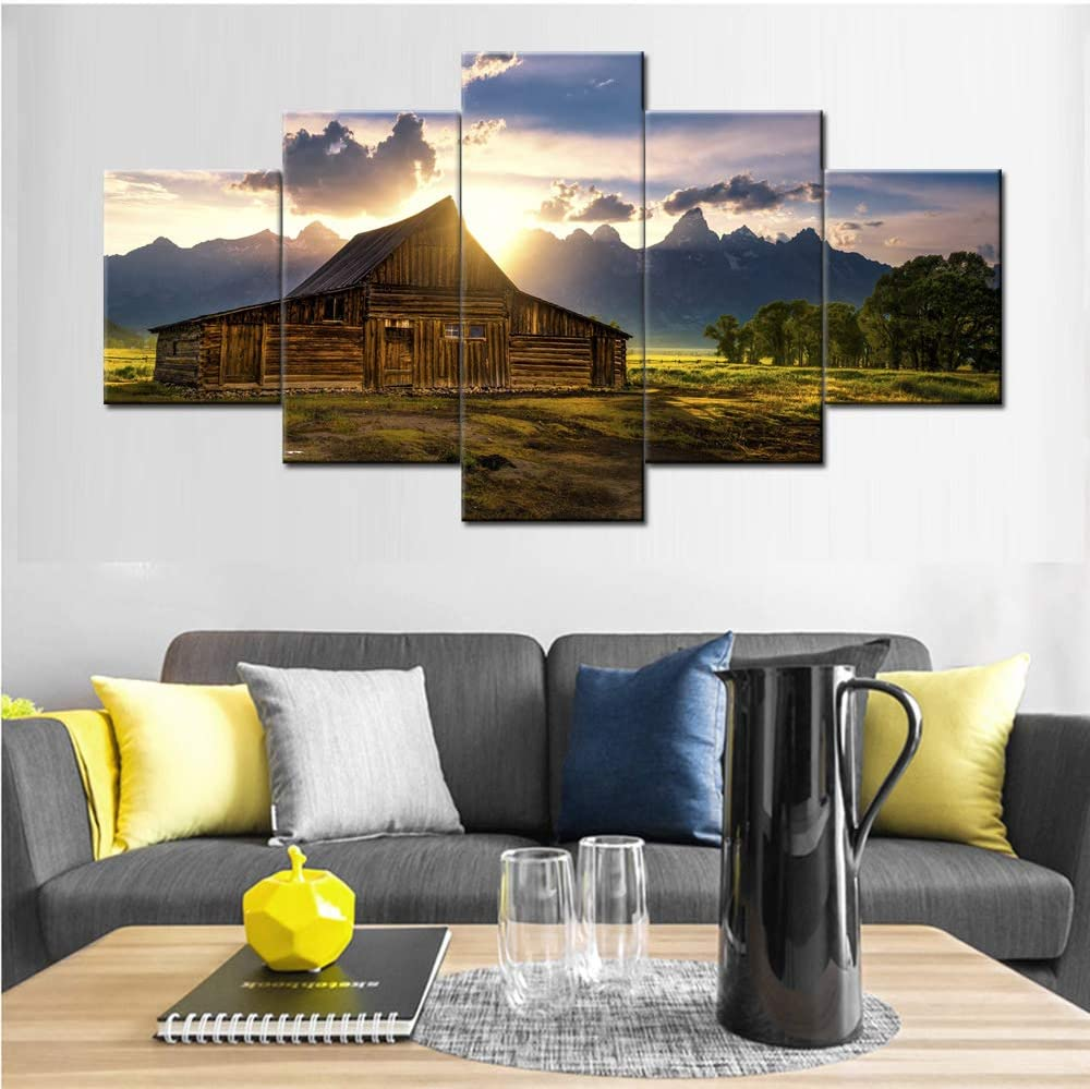 Grand Teton Pictures Barn Wyoming Paintings Big Canvas Landscape Art for Wall Artwork National Park Modern Artwork 5 Piece Home Decor for Living Room Gallery-wrapped Framed Ready to Hang(60''Wx32''H)