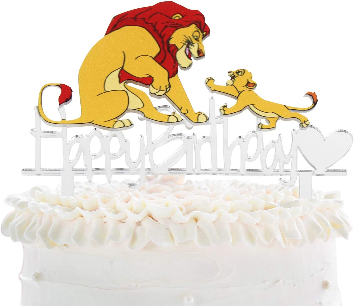 Amazon Com Cartoon Lion Simba Happy Birthday Cake Topper Disney The Lion King Jungle Animals Safari Party Acrylic Cake Decor Baby Shower Kids Birthday Party Decoration Toys Games