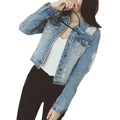 b8de7bc461f8 Femme Veste en Jean À Manches Longues Slim Fit Déchiré Denim Jacket Manteau  Court Blousons  Amazon.fr  Vêtements et accessoires