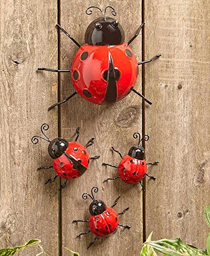 The Lakeside Collection Set of 4 Metal Garden Ladybugs -