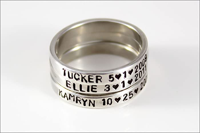 stackable mommy rings personalized silver ring christmas gift for her custom name ring