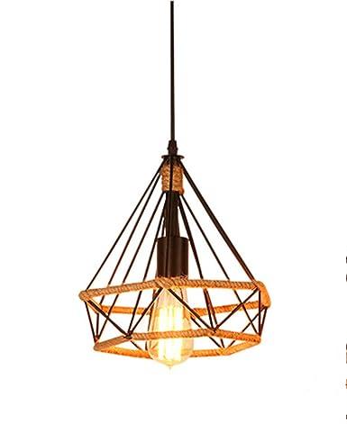 E27 lámpara colgante de hierro forjado de luz Luz Diamante Jaula ...