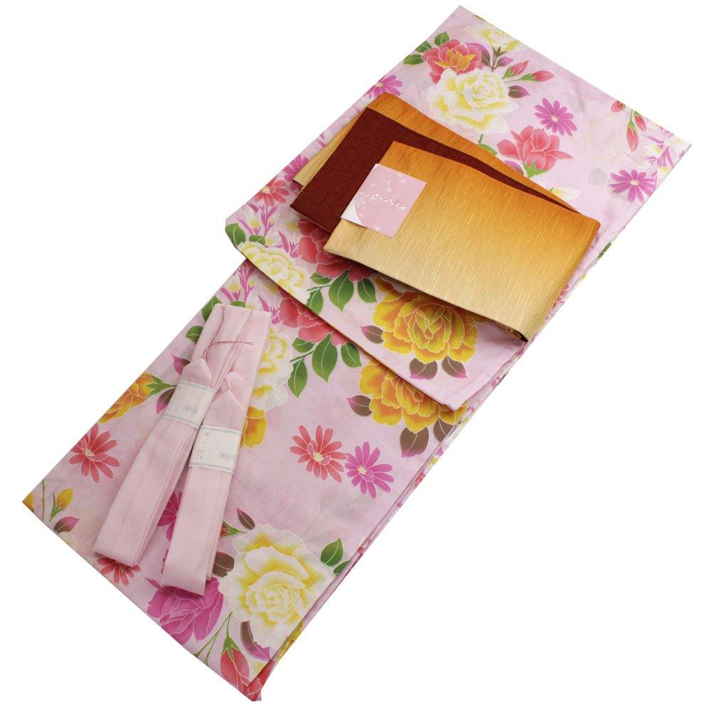Japanese Summer Cotton Kimono Dress Yukata 3items set pink It rose pattern Free Size