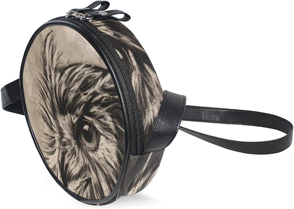 KEAKIA Owl Charcoal Graphite Round Crossbody Bag Shoulder Sling Bag Handbag Purse Satchel Shoulder Bag for Kids Women