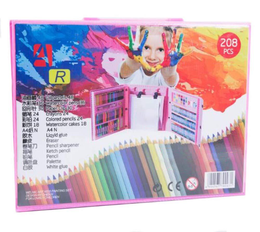 HQYDBB Kids Premium Art Set, 208 Pezzi di Set per Bambini con cavalletto, Penna Acquerello per Scuola primaria, Combinazione di cancelleria per Arte a Pennello