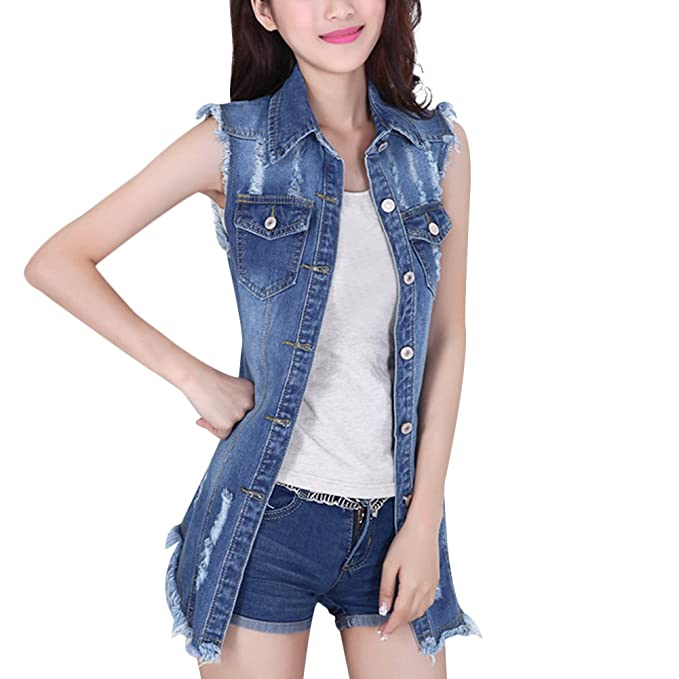 65d3a89d4fe CHICFOR Womens Long Denim Vest Jacket Sleeveless Fashion Casual Slim Jeans  Waistcoat at Amazon Women s Coats Shop