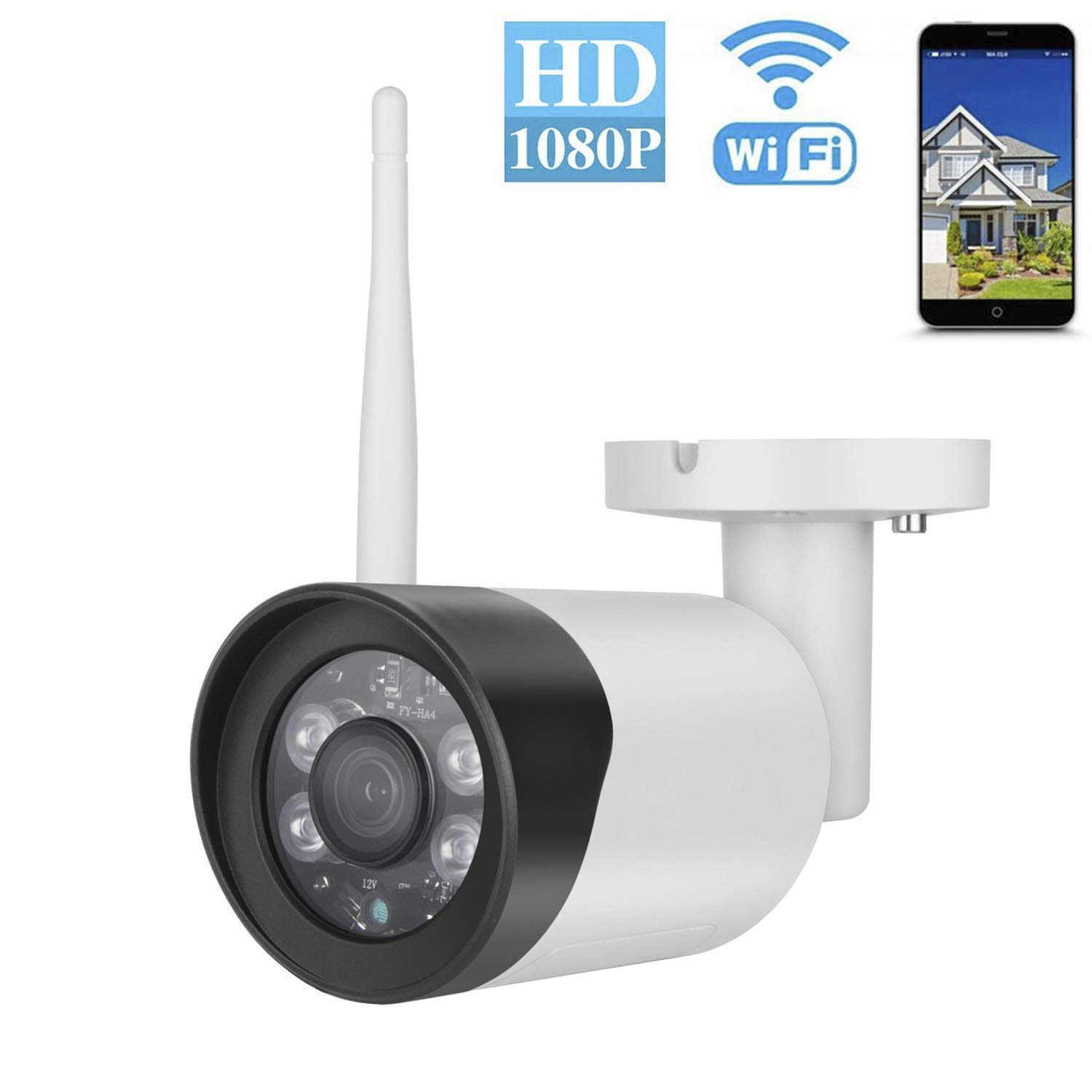 Outdoor Security Camera, 1080P WIFI Outdoor Camera with Two-Way Audio, IP66 Waterproof, Motion Detection, Night Vision, Remote Viewing Wireless IP Security Surveillance Cameras,SD Card Storage