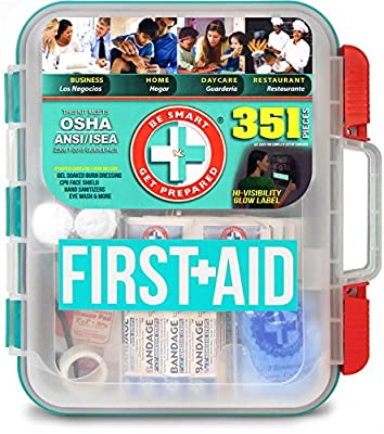 Be Smart Get Prepared 351 Piece First Aid Kit, Exceeds OSHA ANSI 2015 Standards for 100 People - Workplace, Home, Car, School, Emergency, Survival, Camping, Hunting, and Sports from Total Resources International (TRI)