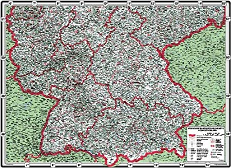 Postcode Map Southern Germany G Magnetwand Im Alurahmen Silber