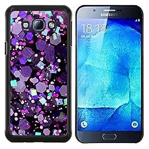 EJOOY---Cubierta de la caja de protección para la piel dura ** Samsung Galaxy A8 A8000 ** --Crystal púrpura del hexágono Brillante