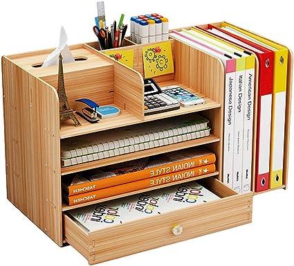 Bo/îte de rangement 33 x 24 x 26 cm en bambou avec 1x tiroir et compartiments Navaris Organisateur de bureau Organiseur fourniture de bureau