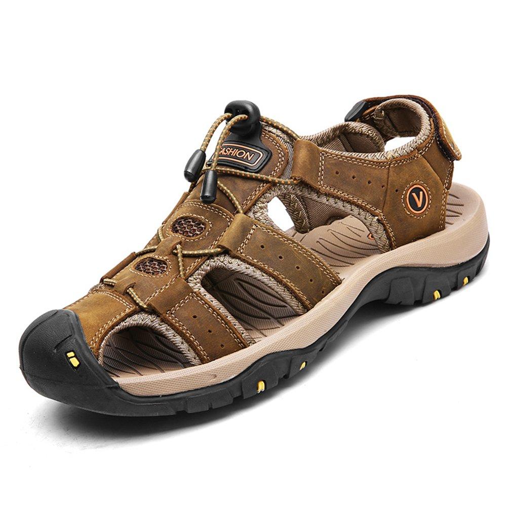 Toptak Hombre Cuero Sandalias Zapatillas De Trekking Deporte Outdoor Verano Senderismo Zapatos,US8.0-EU42 US8.0-EU42