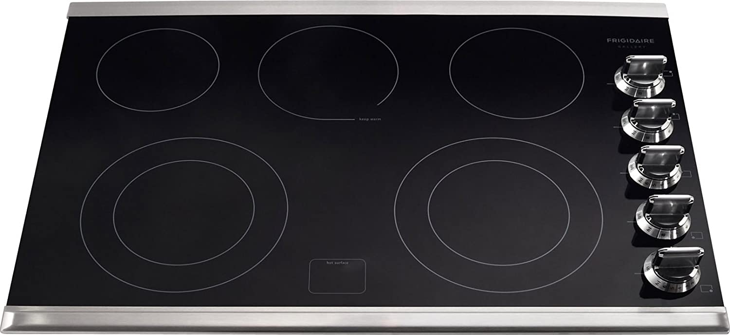 "Frigidaire FGEC3067MS 30"" Smooth Top Electric Cooktop, Black, Stainless Trim"