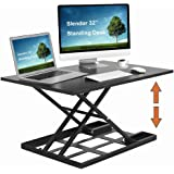 "Slendor Height Adjustable Standing Desk Converter 32"" x 22"" Extra Large Desktop Ergonomic Adjustable Sit Stand Up Desk Converter Air Riser Gas Spring Workstation Easy Lift"