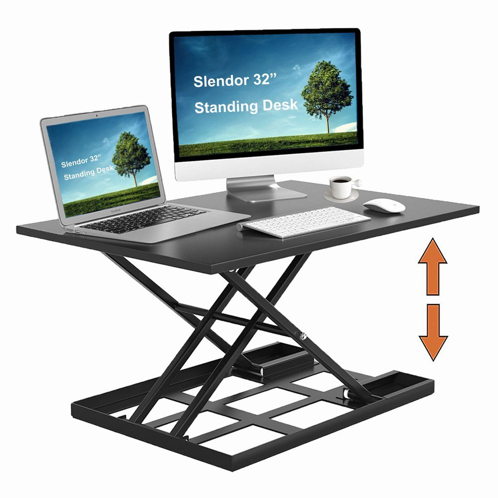 Slendor Height Adjustable Standing Desk Converter 32'' x 22'' Extra Large Desktop Ergonomic Adjustable Sit Stand Up Desk Converter Air Riser Gas Spring Workstation Easy Lift