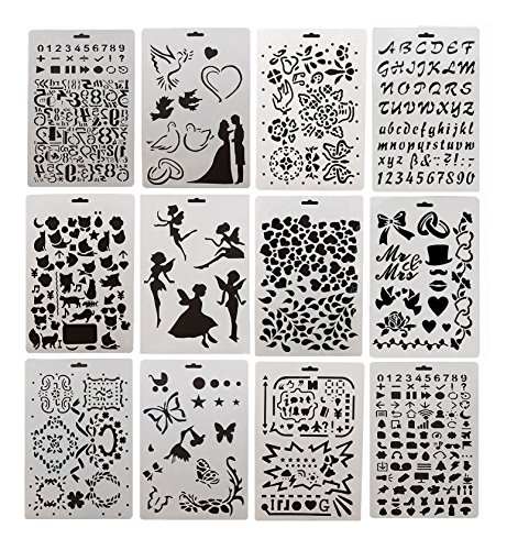 Drawing Painting Stencils Template 12 Pcs Set, Bullet Journal Graphics Stencils for Children Creation,Scrapbooking, DIY Albums Accessories,Card and Craft Projects