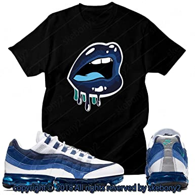 25cb542ea5a4 Custom T Shirt Matching Style of Nike AIR Vapormax 95 French Blue AVM95 1-1- 12 at Amazon Men s Clothing store