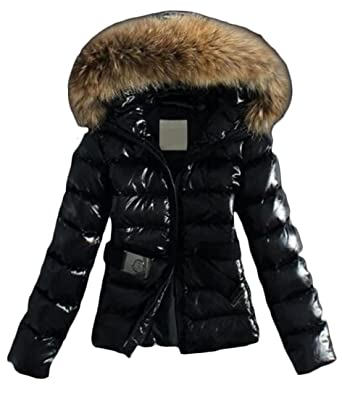 d744de365a2 Amazon.com: XTX Womens Warm Down Coat Belted Faux Fur Hooded Glossy Puffer  Jacket: Clothing