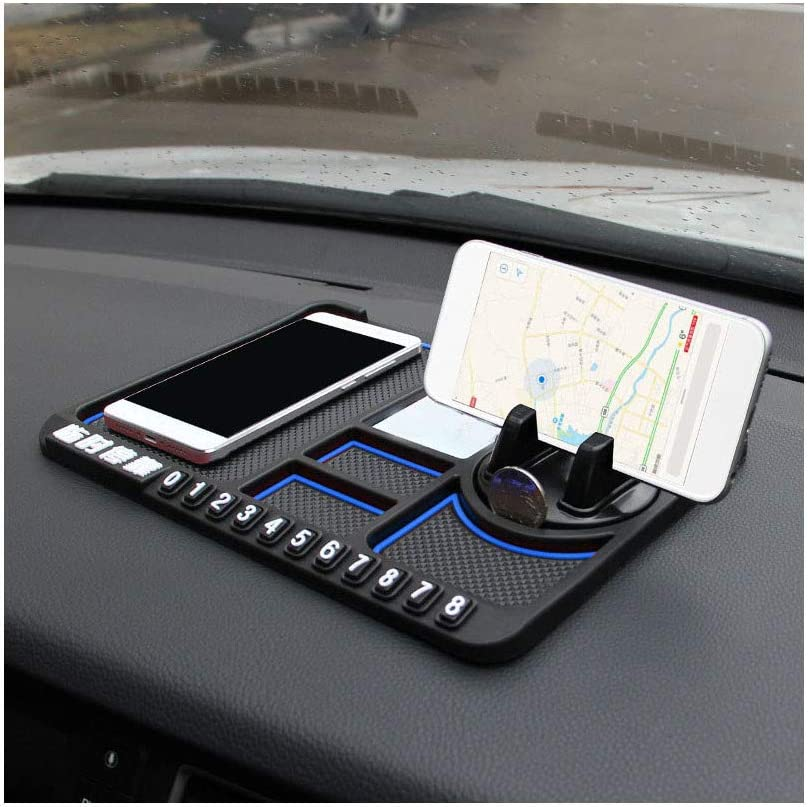 Multifunction Stable Anti-Slip Car Phone Mount/Non-Slip mat/Temporary Parking Card for Vehicles/Phone Dashboard Pad Mat,Suitable for All Phone Models (Blue)