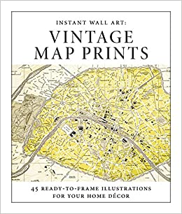 instant wall art vintage map prints 45 ready to frame illustrations for your home dcor