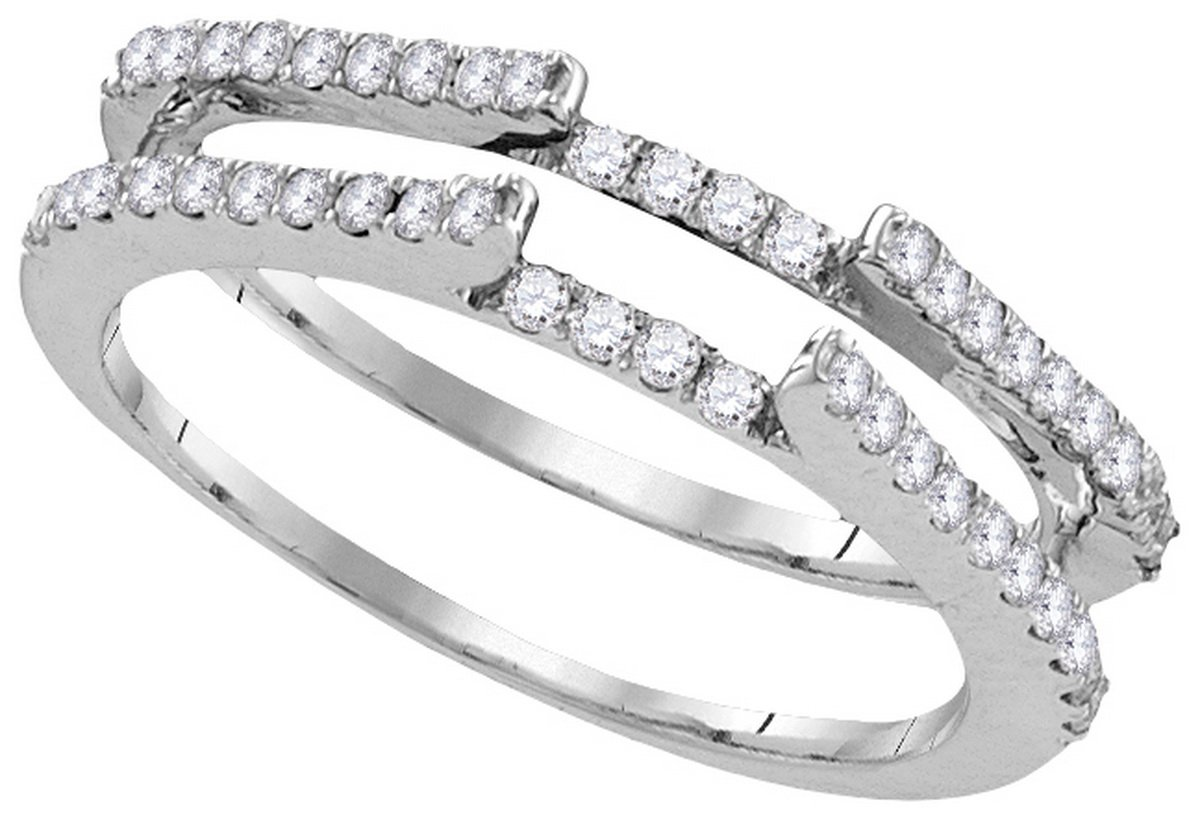 Size 9 - 14k White Gold Round Diamond Ring Guard Wrap Solitaire Enhancer (1/2 Cttw)