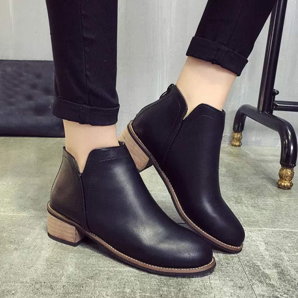 Longra☛☛❤❤ Las Mujeres m/ás Populares Boots Botines Scrub Thick Heel Lady Plat Boots