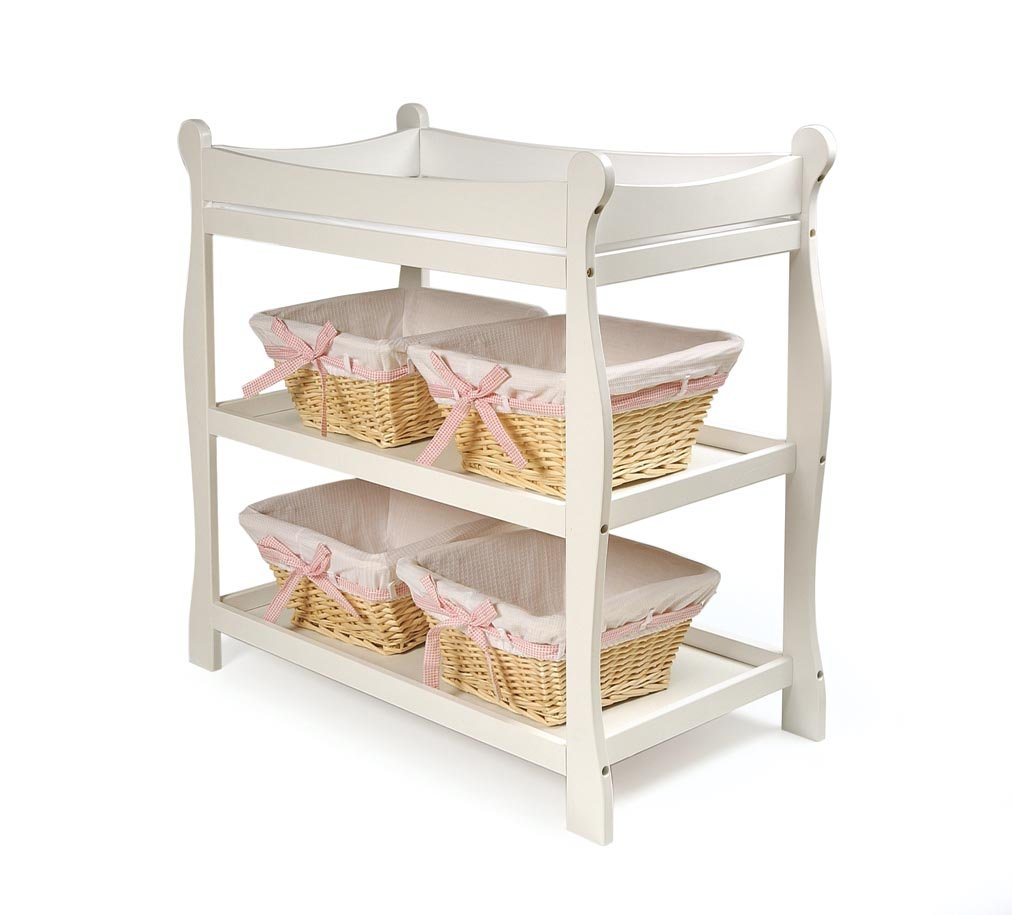 Amazon.com : Badger Basket White Sleigh Style Baby Changing Table : Wooden  Baby Doll Changing Table : Baby