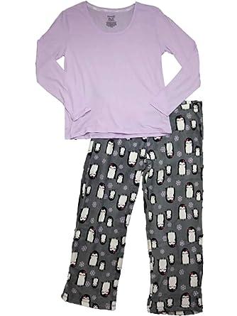 887a716649ce Womens Purple Gray Penguin Bird Pajamas Fleece Snowflake Sleep Set X ...