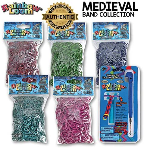Rainbow Loom 3000+ Authentic Rubber Band Collection (Medieval) + Bonus Metal Hook Long Lasting Bands