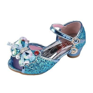 045955a37fb52 YYF Petite Fille Belle Sandale Chaussure de Princesse a Talon pour  Printemps et Ete 26-