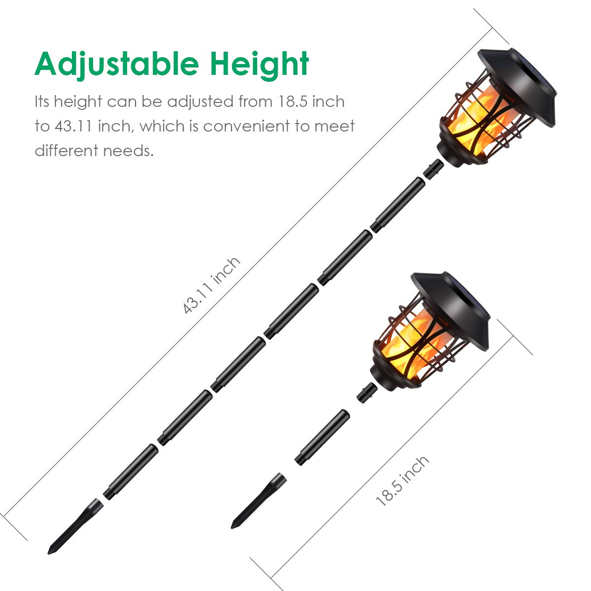 TomCare Solar Lights Metal Flickering Flame Solar Torches Lights Waterproof Outdoor Heavy Duty Lighting Solar Pathway Lights Landscape Lighting Dusk to Dawn Auto On/Off for Garden Patio Yard, 4 Pack by TomCare (Image #3)