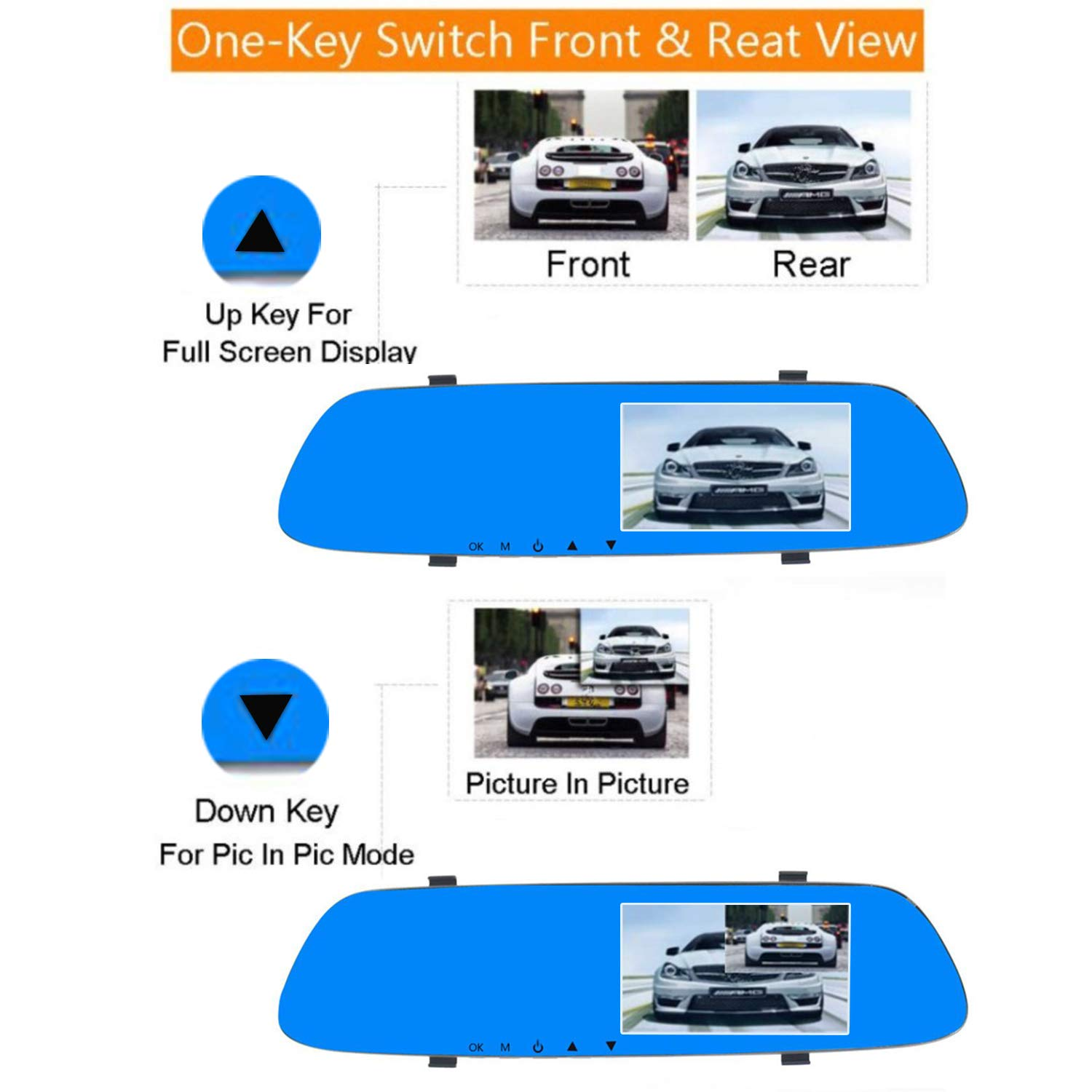 Eagle Eye Right Hand Drive Cars Mirror Dash Cam Reverse Camera Sensor Monitor Parking Assist 1080 FHD Front and Rear View Driving Camera Video Recorder for UK G-Sensor Loop Recording