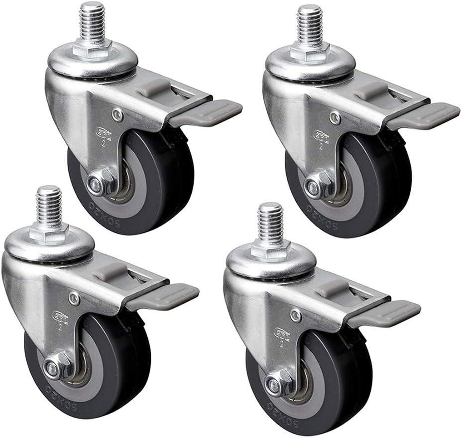 4pcs Roulette pivotante 50 mm Chariot Roulette de Meuble 2 Pouces roulettes /à Bille D/éplacement Castor Roues 360 degr/és pivotant for Workbench No Noise