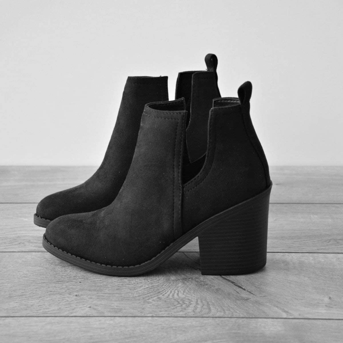 Womens Cutout Chelsea Ankle Boots Slip