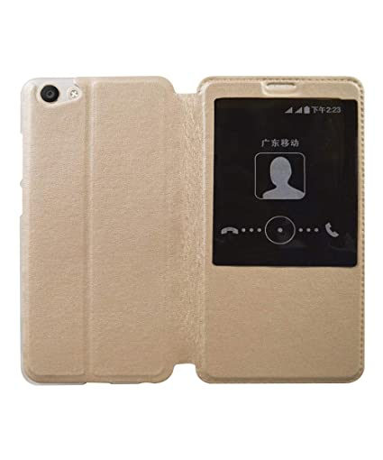 huge discount de5b8 96f18 COVERBLACK Window Flip Cover for Vivo 1724 - Golden: Amazon.in ...