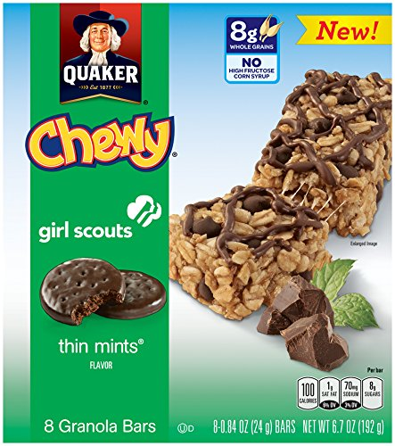 Quaker Chewy Girl Scouts Thin Mint Granola Bars, 8 Bars by Quaker