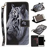 Misteem Case for iPhone 6 Plus/ 6S Plus Animal, Cartoon Anime Comic Leather Case Wallet with Bookstyle Magnetic Closure Card Slot Holder Flip Cover Shockproof Slim Creative Pattern Shell Protective Cover for Apple iPhone 6S Plus/ 6 Plus 5.5 inch [White Tiger]