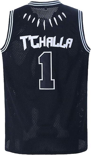 WAKANDA 1# T/'Challa 2# Killmonger Film Schwarz Panther Genäht Basketball Trikots