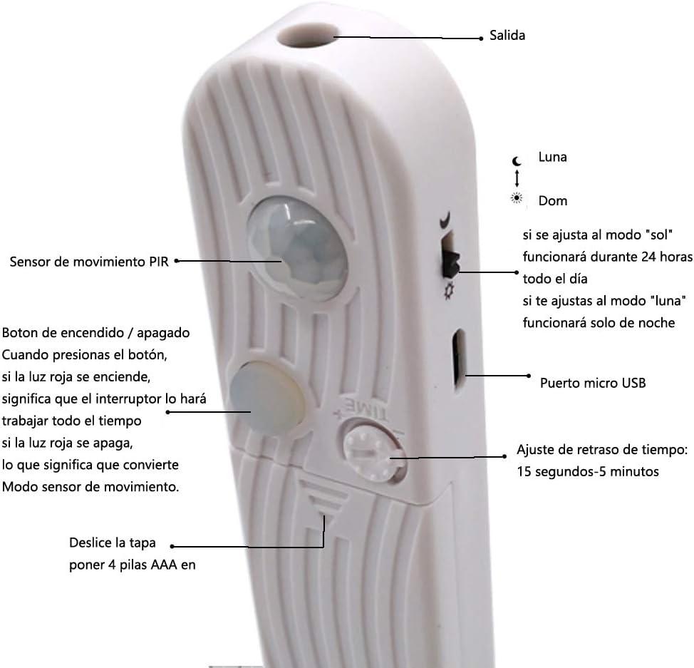 funciona con 4 pilas AAA, No Incluidas Haovida 60LED 1m tira luz cuerda,Luz Armario Luz LED Nocturna con Sensor de Movimiento para Pasillo Ba/ño Armario Cocina 4000K Blanco c/álido