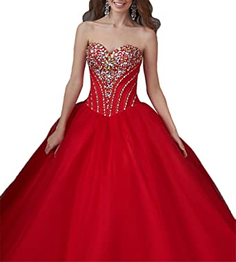 Yonggao Womens Vestidos DE 15 Anos Elegant Quinceanera Dresses With Crystal 0 US Red
