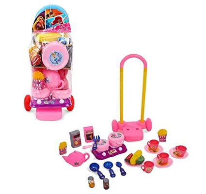 Indusbay Disney Princess Trolley Kitchen Set 26 Pieces Playset With Pull Along Trolley For Kids