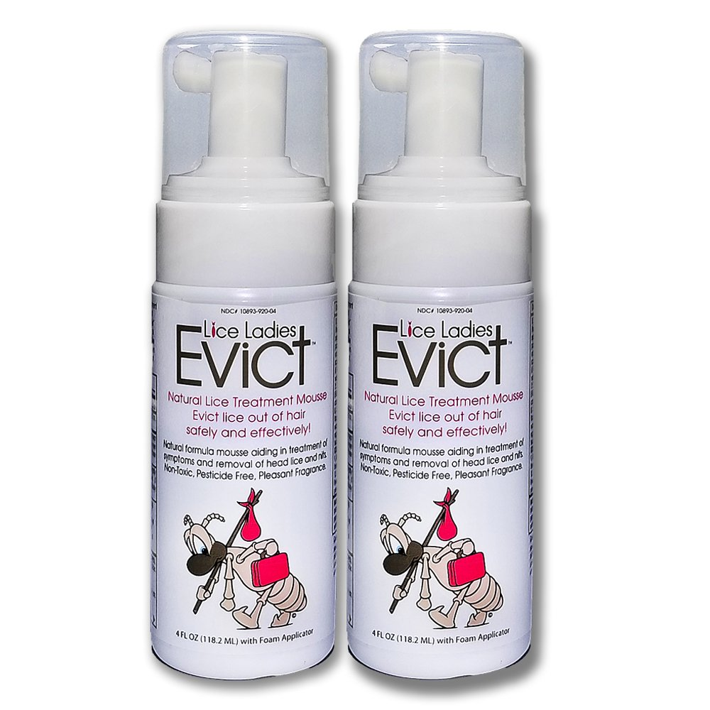 Lice Ladies EVICT / All-Natural, Non-Toxic, Fast Acting Lice Treatment Mousse / homeopathic formula / 2 Pack of 4oz Foam applicators / 2 - 4 oz pack