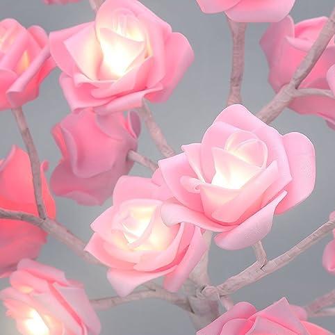 ElementDigital Rose Tree Table Lamp Battery Pink Rose Twig Tree Pre ...