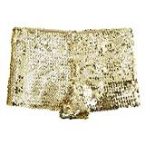 FEESHOW Women's Metallic Hipsters Rave Booty Dance Shorts (Gold Glitter Sequins) OS