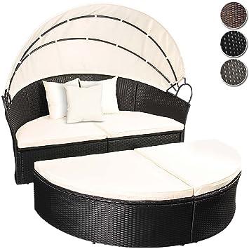 Miadomodo Rattan Sun Lounger Ø 180 Cm (Choice Of Colours) Height Adjustable Garden  Furniture