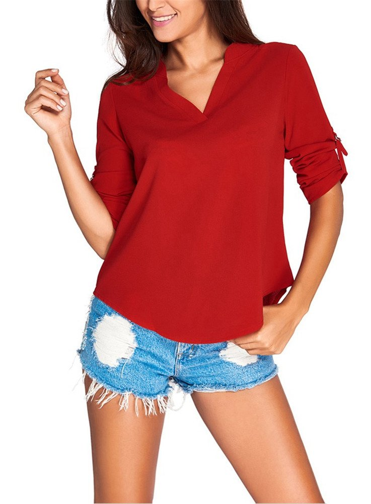 iNewbetter Womens Casual Blouse Ladies V Neck Cuffed Long Sleeve Loose Top Shirts IN25767-Burgundy-XXL