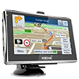 Hieha 5 Inch Car Truck Lorry GPS SAT NAV Satellite Navigation System Navigator SpeedCam POI MP3 Lifetime UK Ireland Europe Maps Updates 256M 8G Upgraded Version