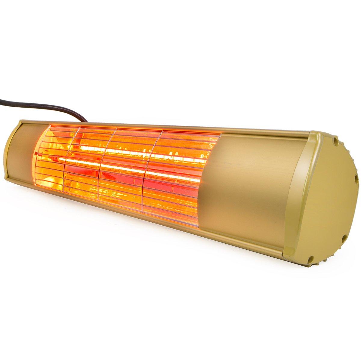 XtremepowerUS Electric Outdoor Patio Heater 1500 Watt Wall-Mounted Infrared Space Heater Gazebo Patio Environmentally Safe Balconies